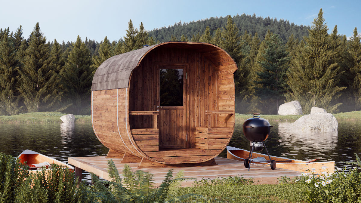 Anna - barrel sauna with an extra-long terrace