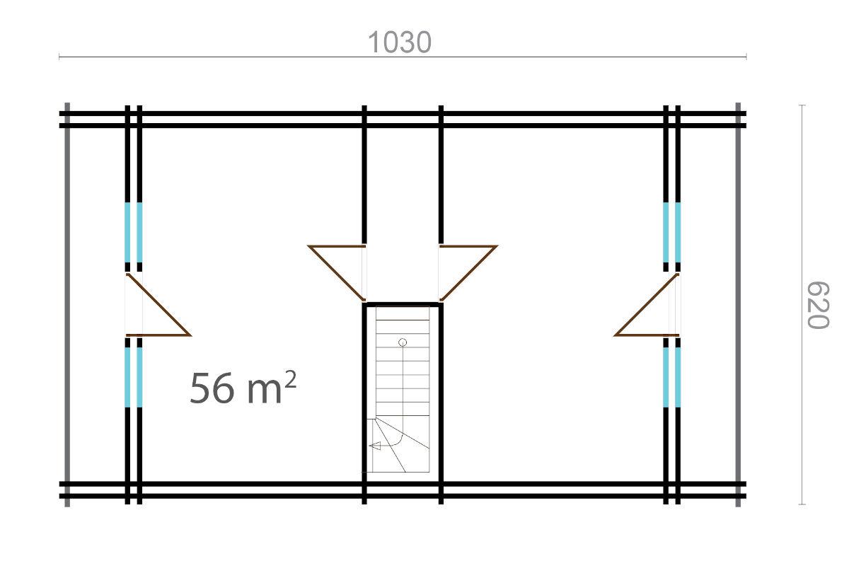 Carolina 44+140+44 - log house with two balconies