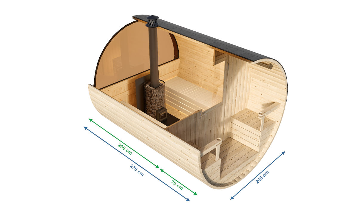 Granada - barrel sauna for 2-4 people