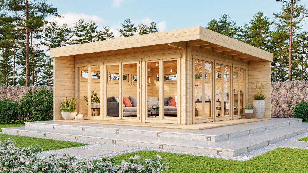 Melany 70 – a contemporary log cabin with large windows