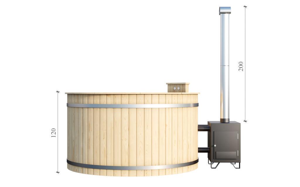 Hot tub 170 – wooden hot tub with fiberglass lining